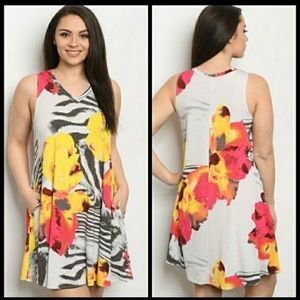 Plus size gray and yellow dress